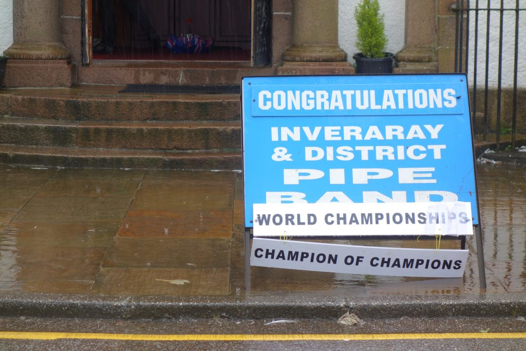 Coastal Road Trip, Inveraray, Pipe Band, Sign