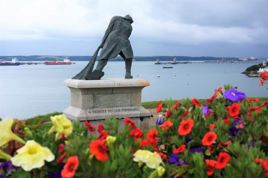 Coastal Road Trip, Milford Haven, Flowers, Statue, Harbour