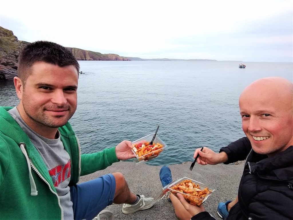 Coastal Road Trip, Stackpole Quay, Julian, Jarno, Pasta