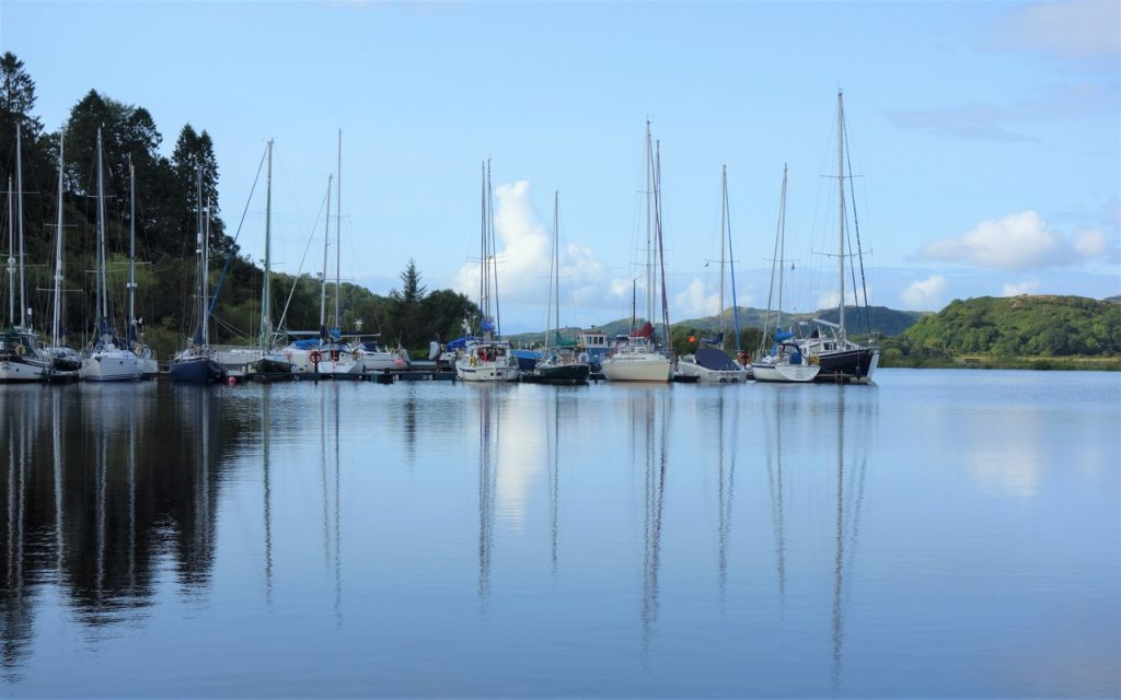 Coastal Road Trip, Bellanoch, Crinan Canal, Boat Reflections