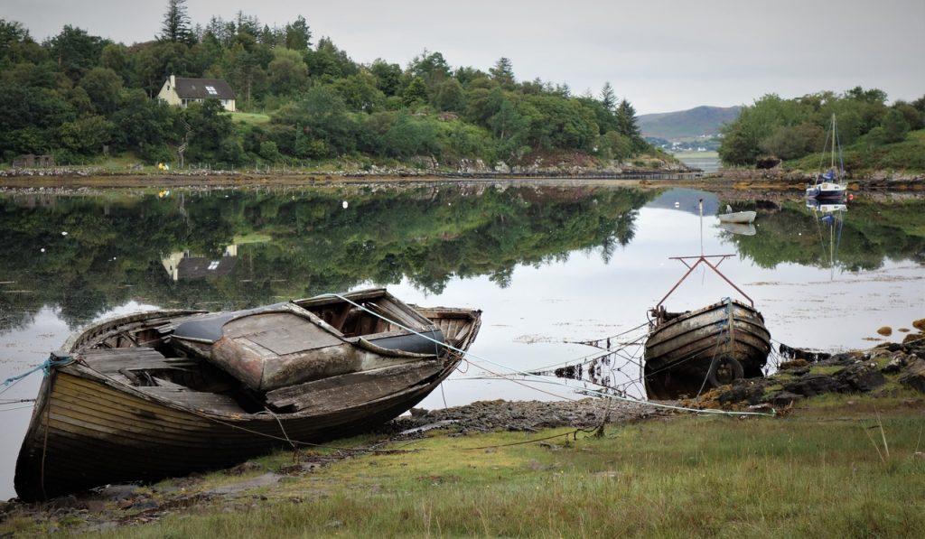 Coastal Road Trip, Loch Gairloch, Badachro, Boats, Reflections