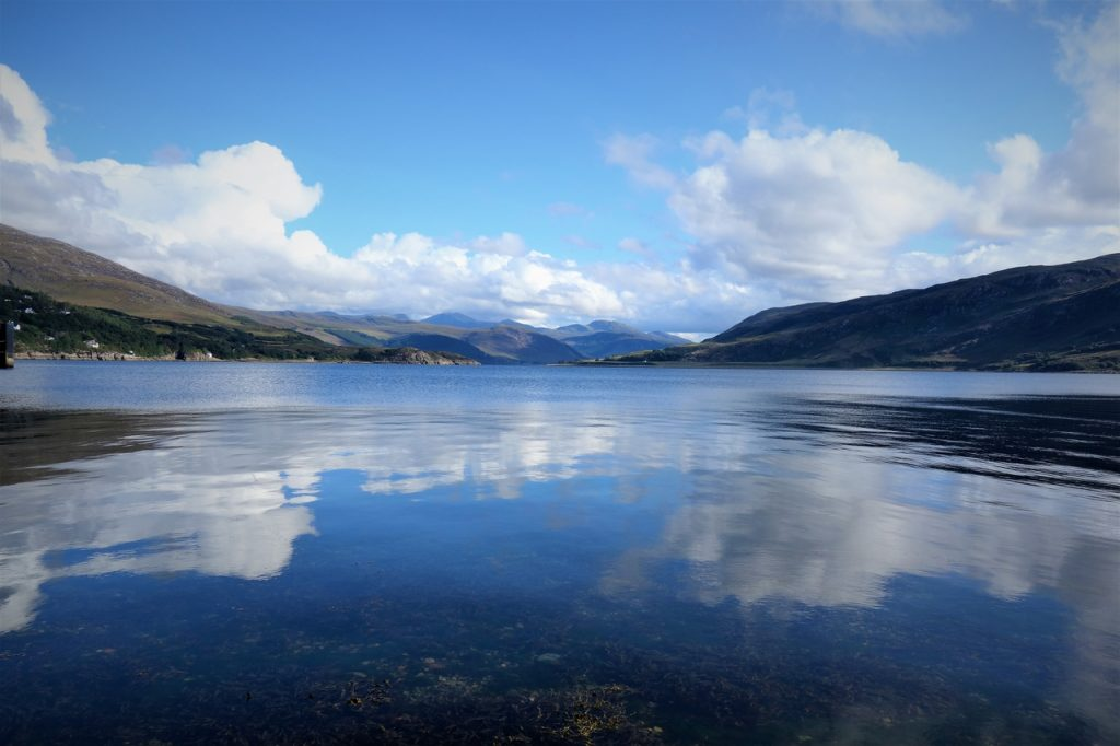 Coastal Road Trip, Corrieshalloch Gorge National Nature Reserve, National Trust for Scotland, Ullapool, Loch Broom, Blue sky, Reflection