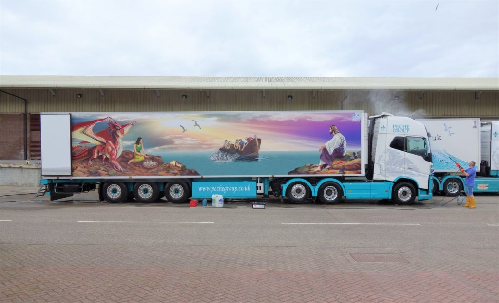 Coastal Road Trip, Lochinver, Truck, Painting, Dragon, Fishermen