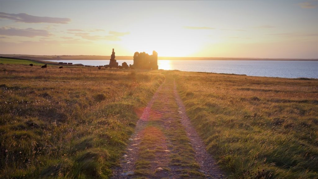 Coastal Road Trip, Castle Sinclair Girnigoe, Sunset, Field