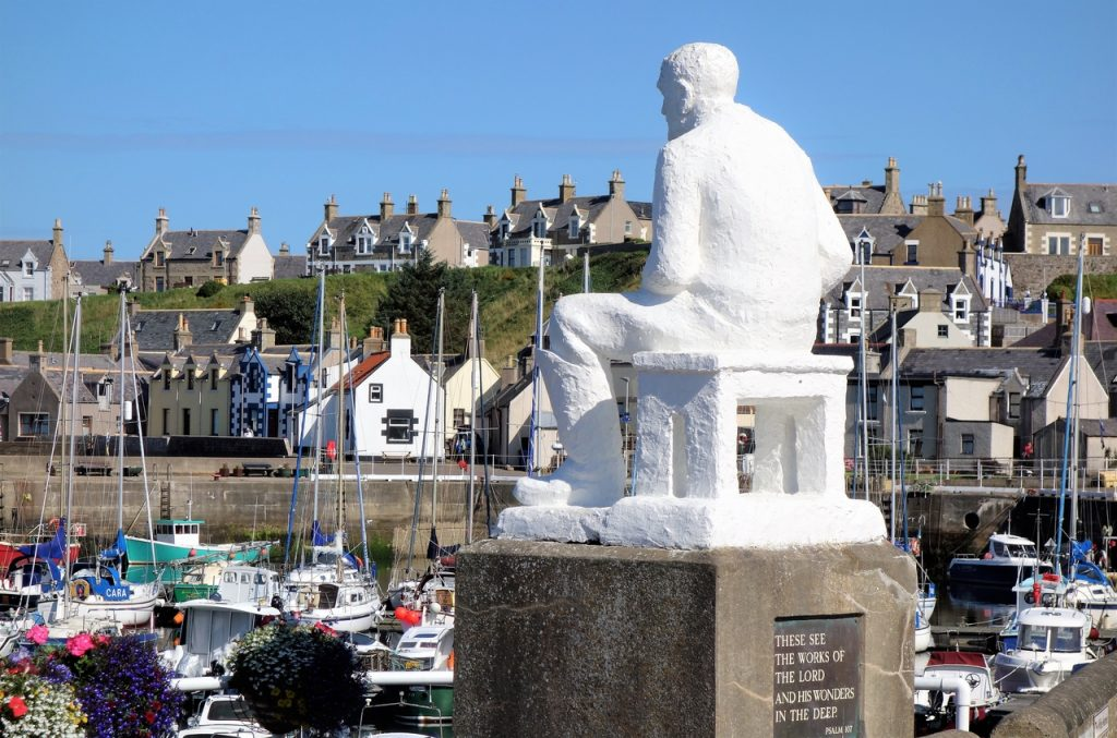 Coastal Road Trip, Findochty, Harbour, Statue, Correna Cowie, The Mannie, These see the works of the lord and his wonders in the deep, psalm 107