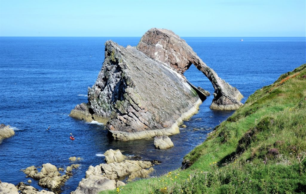 Coastal Road Trip Portknockie, Bow Fiddle Rock, Canoe