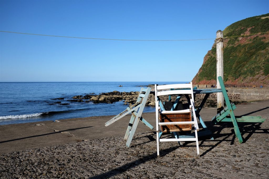 Coastal Road Trip, Pennan, Fishing village, Table, Chairs