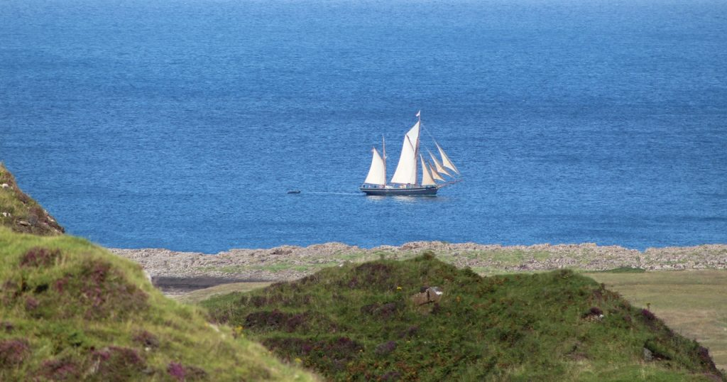 Coastal Road Trip, Staffin, Sailing boat