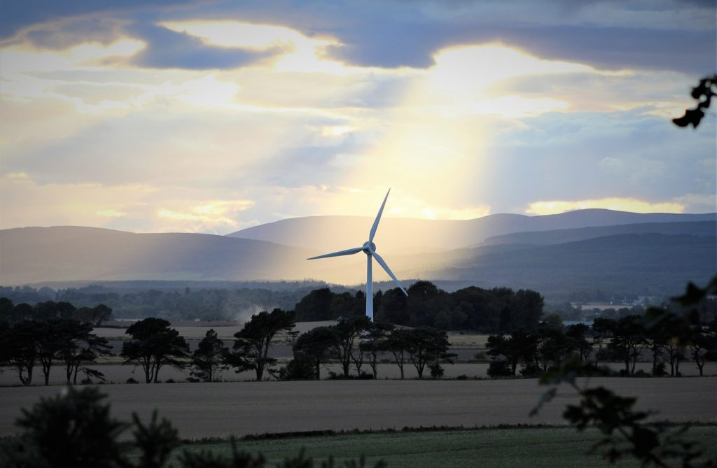 Coastal Road Trip, Arabella, Eastern Ross-shire, Wind Turbine, Sun, Clouds, Fields