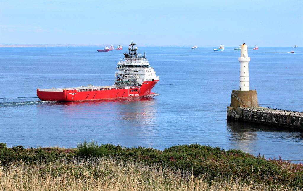 Coastal Road Trip, Aberdeen, River Dee, Torry Point Battery, South Breakwater, Ship