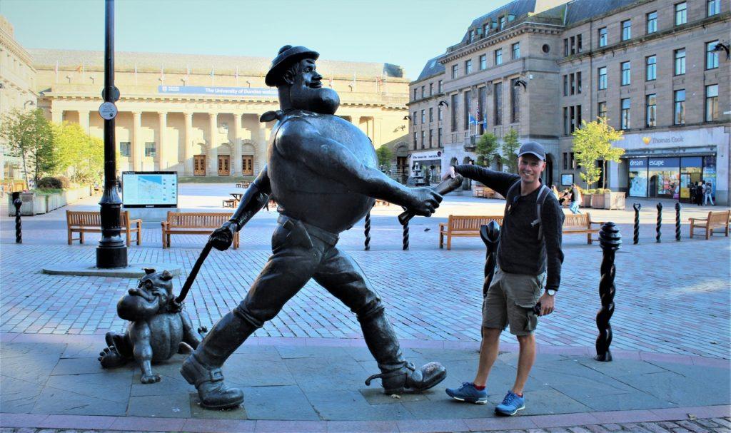 Coastal Road Trip, Dundee, Desperate Dan Statue, Jarno