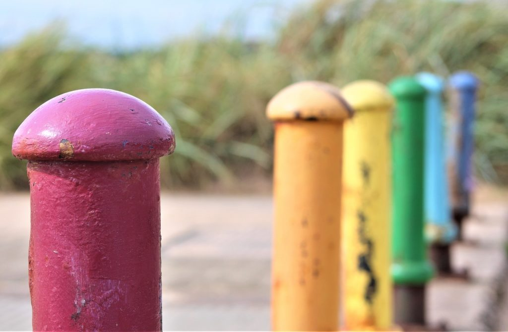 Coastal Road Trip, Lower Largo, Colourful Bollards