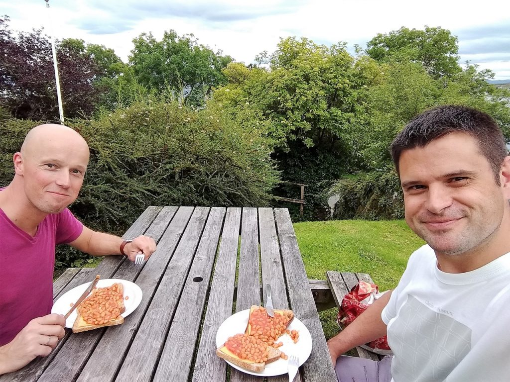 Coastal Road Trip, Broadford, Baked beans on toast, Julian, Jarno