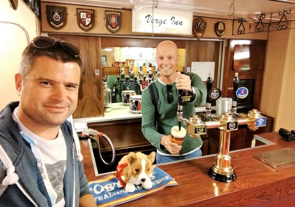 Coastal Road Trip, Royal Yacht Britannia, Verge Inn, Royal pub, Corgi, Julian, Jarno, Beer