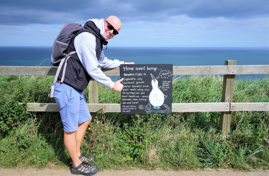 Coastal Road Trip, Bempton Cliffs, RSPB, Gannetts, Sign, Jarno