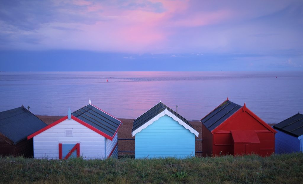 Coastal Road Trip, Felixtowe Ferry, Beach Huts, Sunset, Dusk