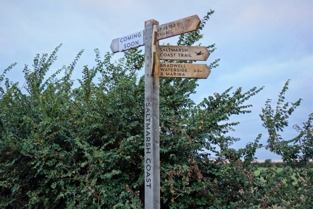 Coastal Road Trip, Bradwell-on-Sea, St Peter's Chapel, Signpost, Coming Soon, Saltmarsh Coast