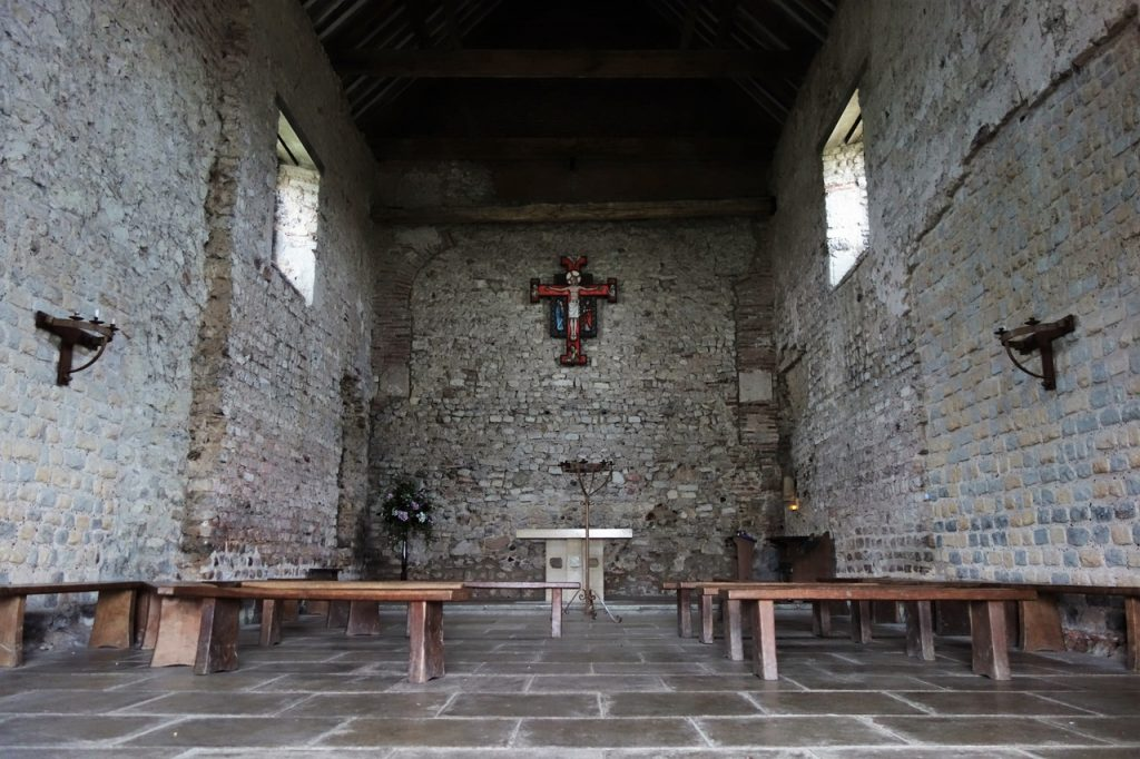 Coastal Road Trip, Bradwell-on-Sea, St Peter's Chapel, Interior, Nave, Altar, Saltmarsh Coast,