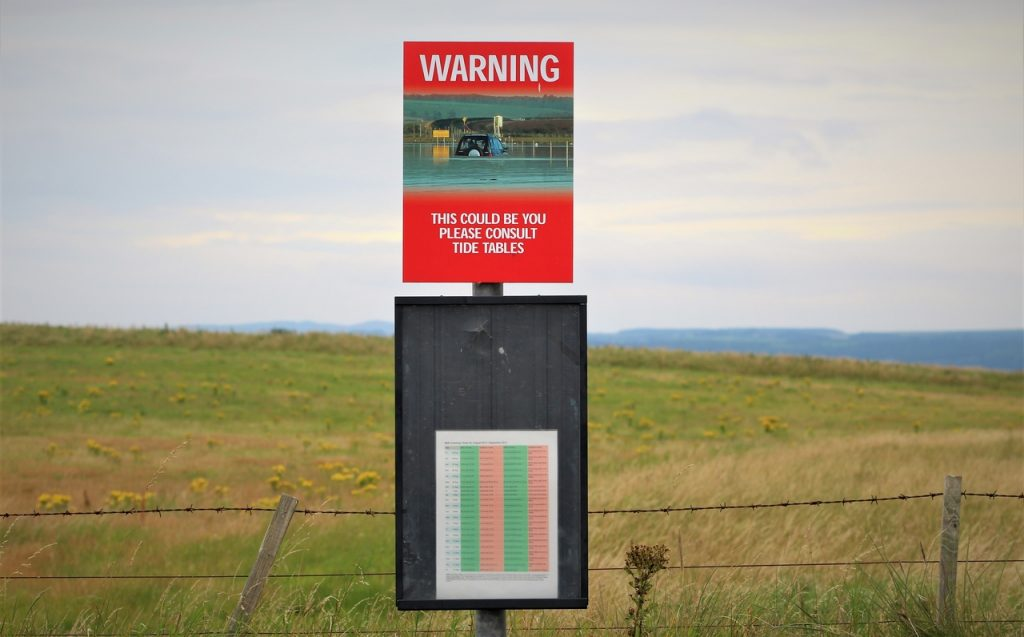 Coastal Road Trip, Lindisfarne, The Holy Island, Causeway, Warning, Tide Tables