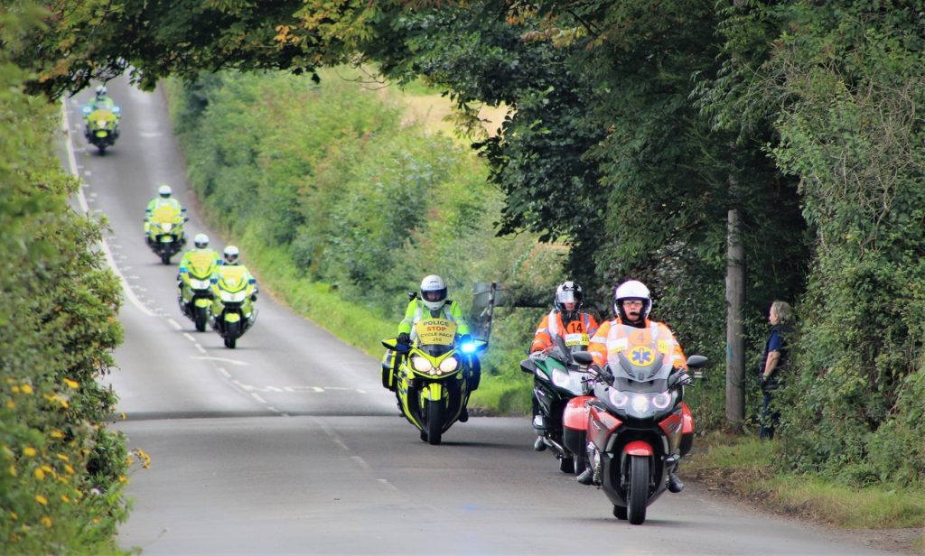 Coastal Road Trip, Tour of Britain Cycle Race, Bamburgh, Police, Race marshals