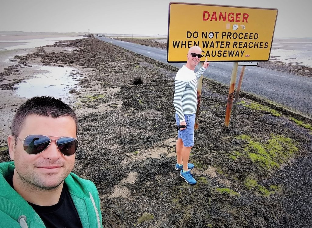 Coastal Road Trip, Lindisfarne, The Holy Island, Causeway, Danger Sign, Julian, Jarno