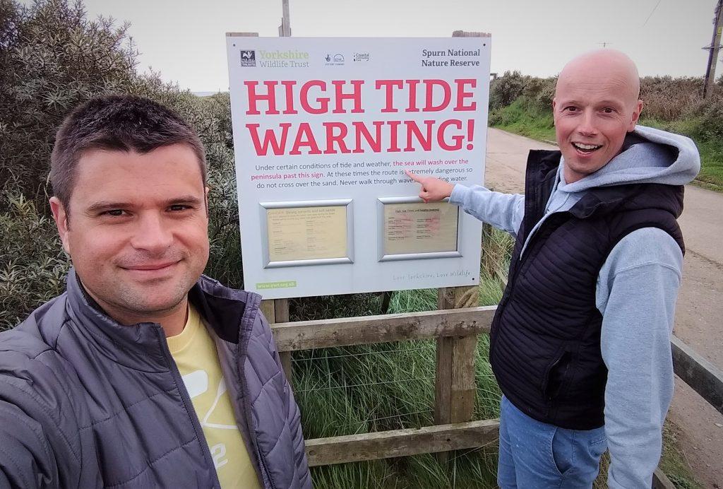 Coastal Road Trip, Spurn Point, High Tide, Warning Sign, Julian, Jarno