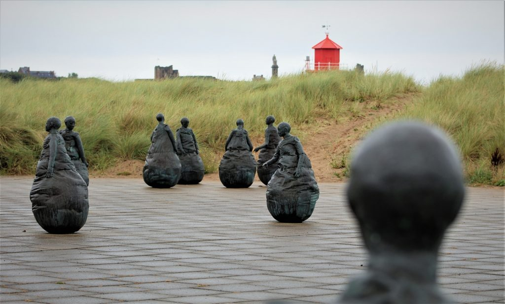 Coastal Road Trip, Littlehaven Beach and Promenade, South Shields, Conversation Piece, Juan Munoz, Sculptures