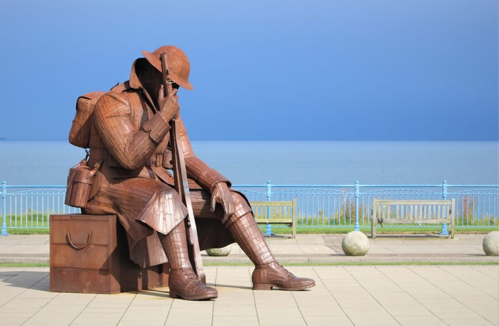 Coastal Road Trip, Seaham, Tommy World War One Soldier Sculpture, Eleven 'O' One, Giant soldier
