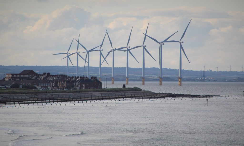 Coastal Road Trip, Marske-by-the-sea, View to Redcar and Off Shore Wind Turbines