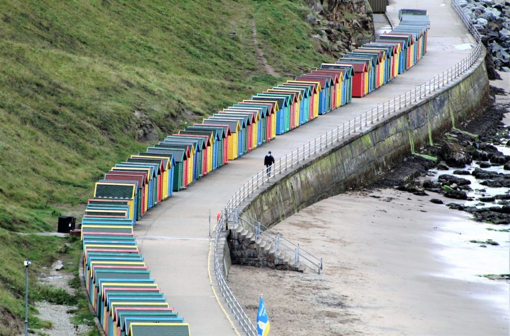 Coastal Road Trip, Whitby, Beach Huts, Coloured