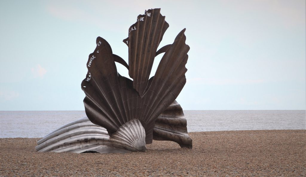 Coastal Road Trip, Aldeburgh, Beach, RSPB North Warren, Scallop, Sculpture, Benjamin Britten, Maggi Hambling
