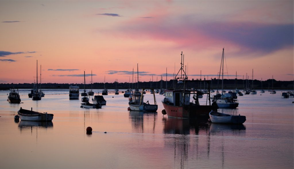 Coastal Road Trip, Felixtowe Ferry, Sunset, Dusk, Boats, Reflection