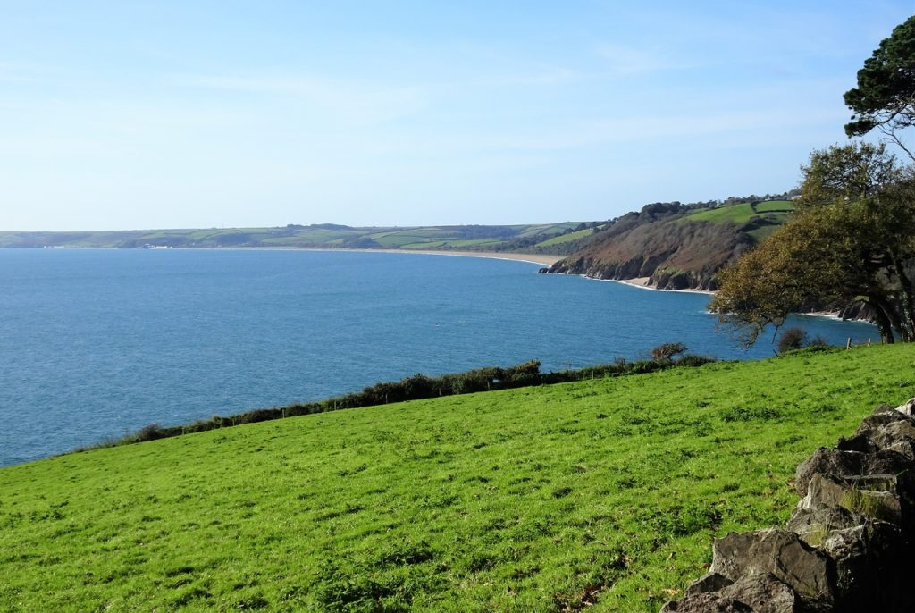 Coastal Road Trip, Blackpool Sands, Slapton Sands, Devon, Blue Sky, Green Fields