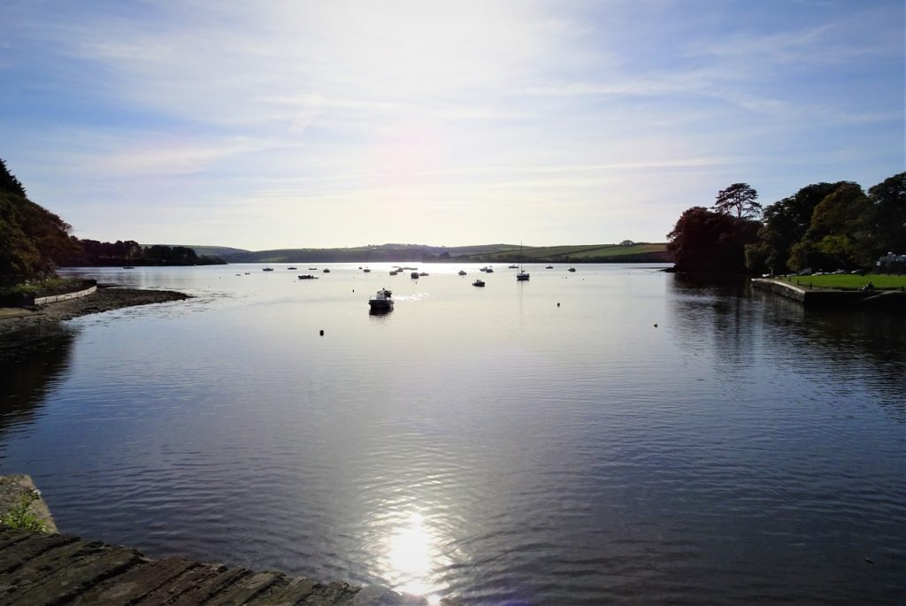 Coastal Road Trip, New Bridge, Bowcombe Creek, Kingsbridge Estuary, Sun reflection