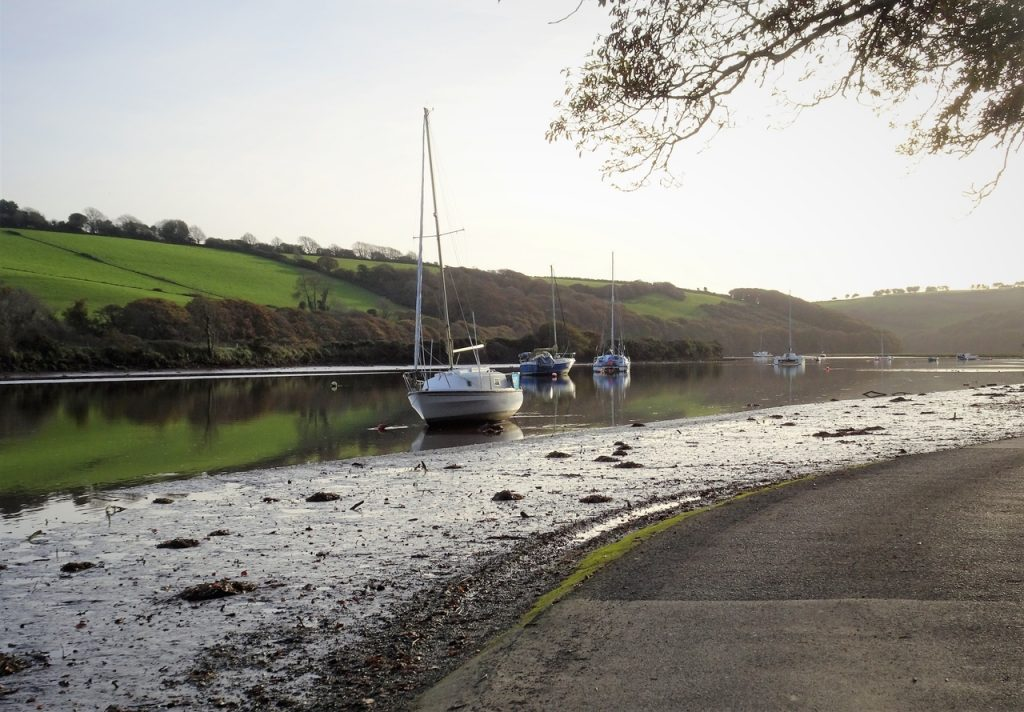 Coastal Road Trip, Tidal Road, River Avon, Aveton Gifford, Bridge End, Boats, Devon