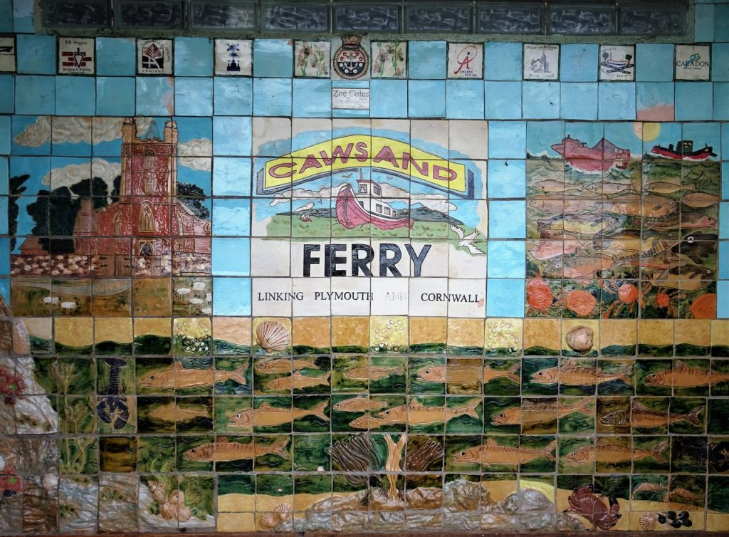 Coastal Road Trip, Cawsand, Ferry Sign, Painted Tiles, Waiting Shelter