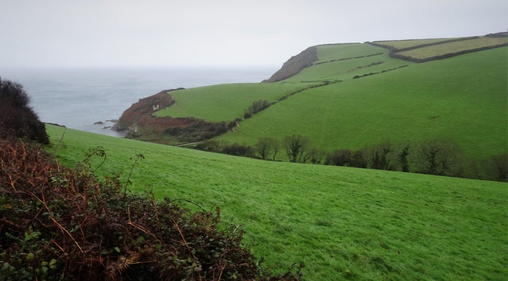 Coastal Road Trip, B3273, Pentewan to Mevagissey, Rainy, Green fields, Valley, SW Coastal Path