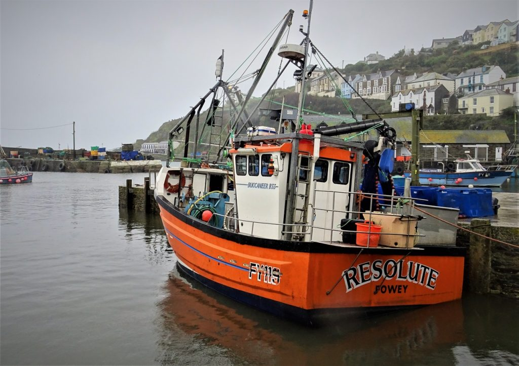 CCoastal Road Trip, Mevagissey, Cornwall, Harbour, Red Fishing Boat, Resolute