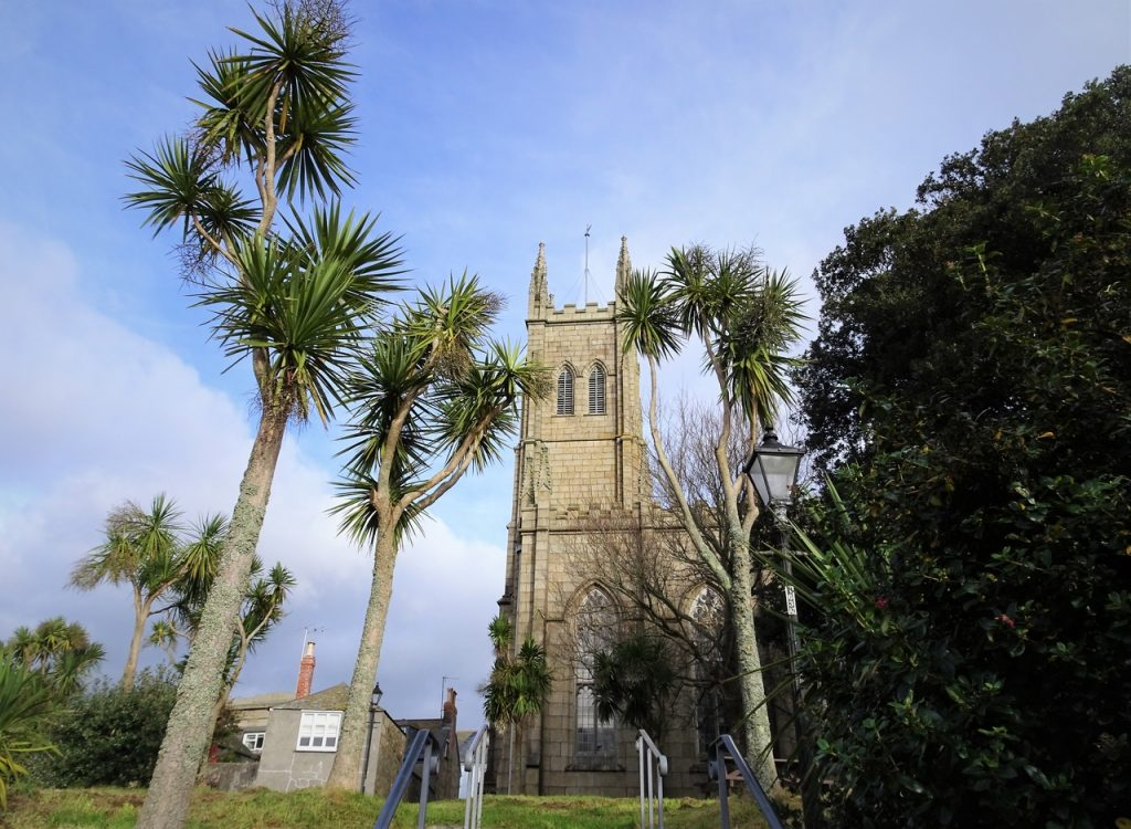 Coastal Road Trip, Penzance, St Mary the Virgin Church, Palm Trees
