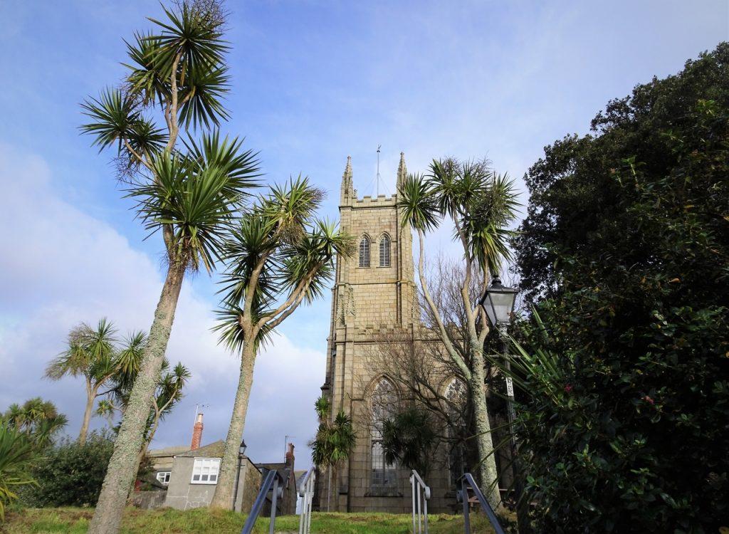 Coastal Road Trip, Penzance, St Mary the Virgin Church, Palm Trees