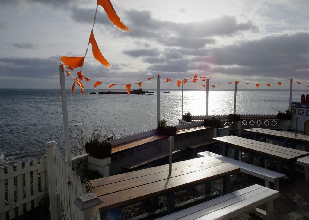 Coastal Road Trip, Mousehole, Rockpool, Cafe, Orange bunting
