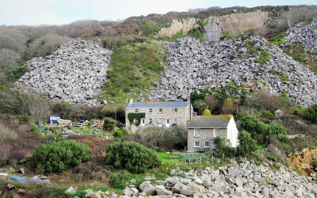 Coastal Road Trip, Lamorna Cove, Quay, Waste tips, Cottages, Granite Quarry, London Thames Embankment,