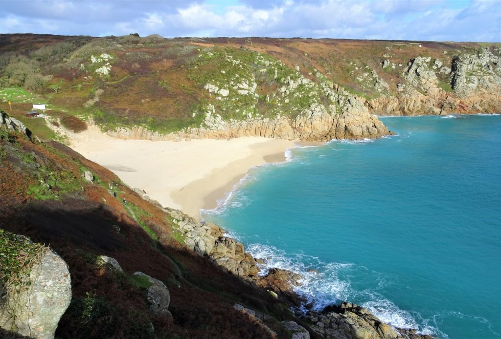 Coastal Road Trip, Porthcurno, Beach, Turquoise Sea, Sunshine, Blue Sky, Cornwall