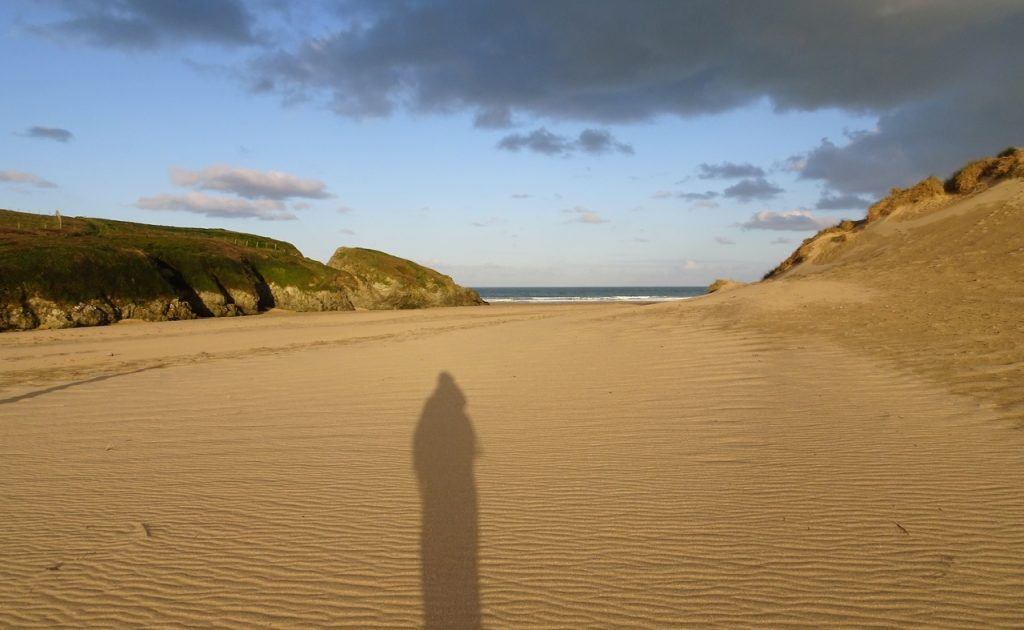 Coastal Road Trip, Holywell, Bay, Beach, National Trust, Shadow