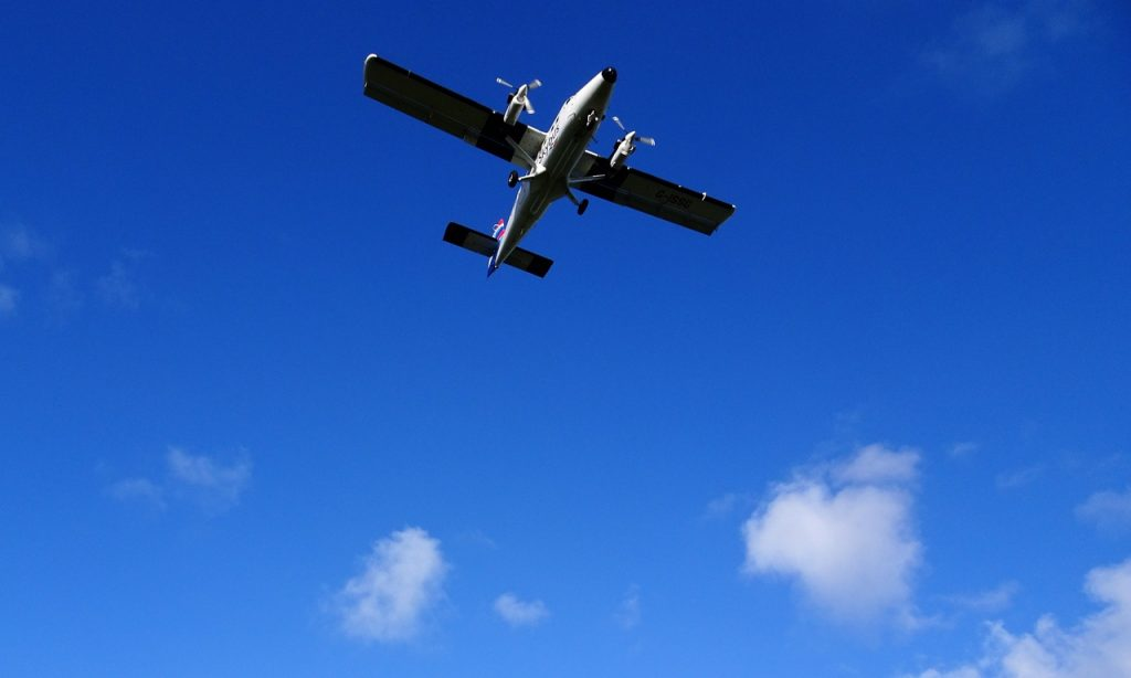 Coastal Road Trip, Newquay Airport, Plane, Overhead, Blue Sky, Watergate Bay