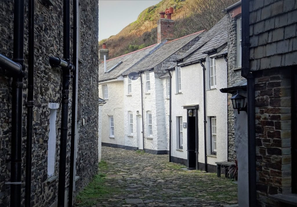 Coastal Road Trip, Boscastle, Valency Row, Cottages, Cobbled Lane, Cornwall