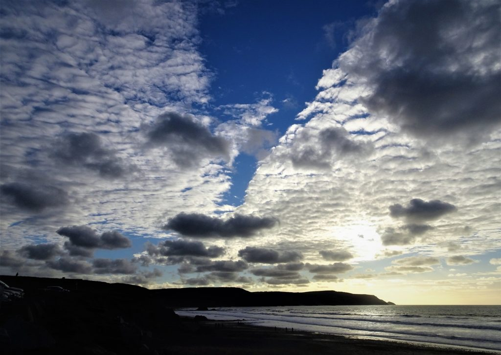 Coastal Road Trip, Widemouth Bay, Beach, Blue Sky, White Clouds, Zip