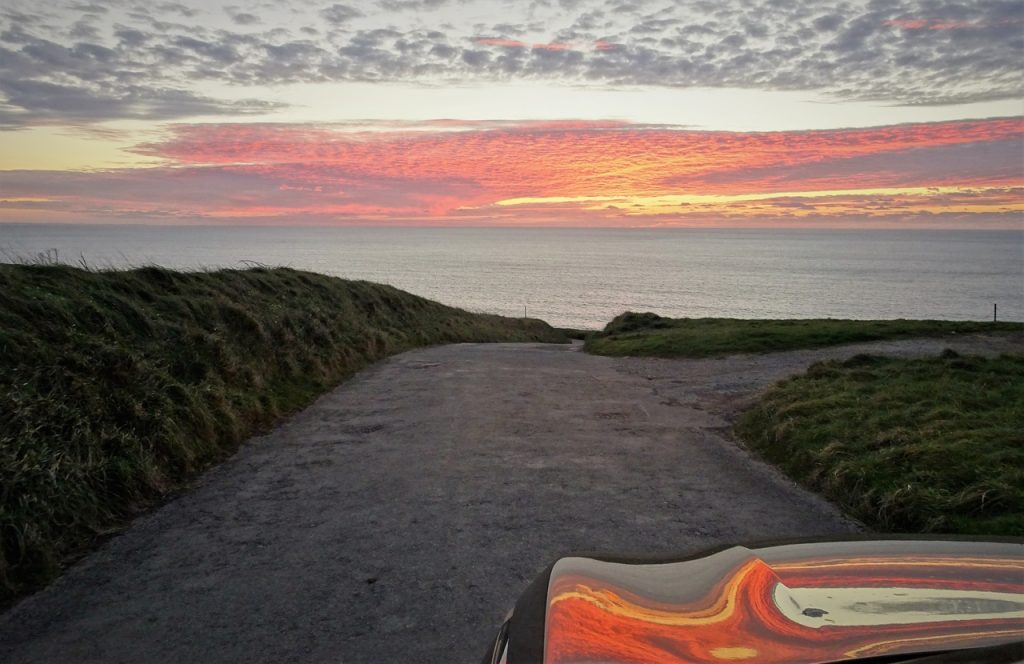 Coastal Road Trip, Hartland Quay, Sunset, Reflection on car bonnet