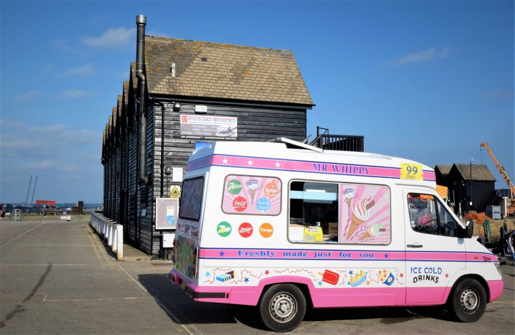 Coastal Road Trip, Whitstable Harbour, Market, Ice-cream Van, Huts,
