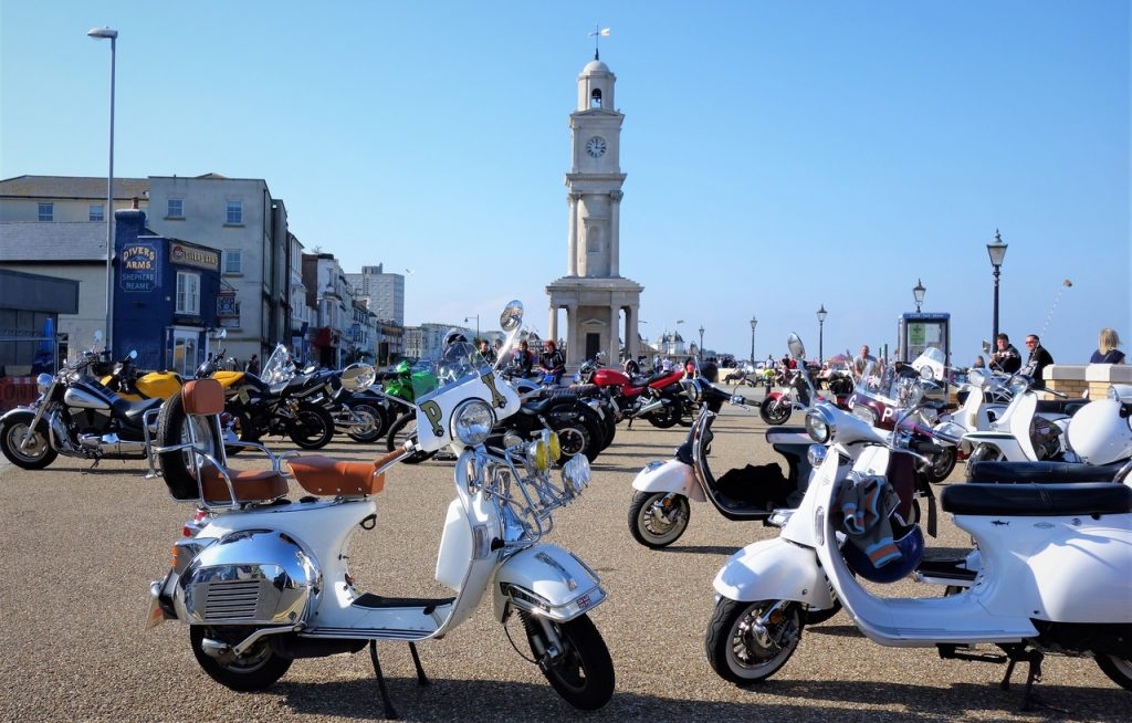Coastal Road Trip, Herne Bay, Mopeds, Clock Tower, Central Parade, Kent